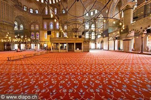 vue intérieure mosquée bleu
