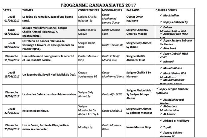 TIVAOUANE - RAMADAN 2017 -  Programme des Ramadaniate  2017 à la Zawiya Serigne Babacar Sy de Tivaouane