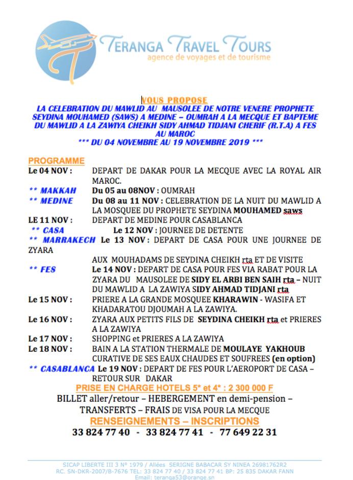 DU 4 au 19 NOVEMBRE 2019: VENEZ CELEBRER LE MAWLID AU MAUSOLEE DU PROPHETE  MOUHAMED (SAWS) A MEDINE – OUMRAH A LA MECQUE ET GAMOUWAAT DU MAWLID A LA ZAWIYA CHEIKH SIDY AHMAD TIDJANI CHERIF (R.T.A) A FES AU MAROC