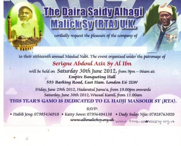 Gamou Dahira El Hadj Malick Sy de Londres ( Angleterre ) : Samedi 30 Juin 2012 sous la Présidence effective de Serigne Abdou Aziz Sy AL Amine