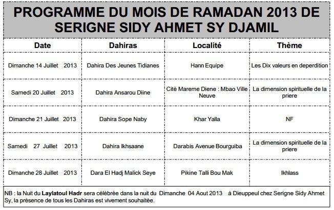 RAMADAN 2013 : Voici le Programme des Conferences de Serigne Sidy Ahmed Sy Djamil