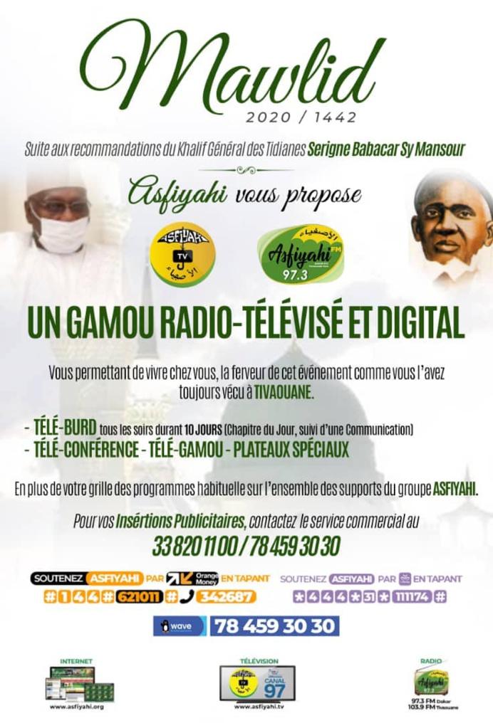 Gamou 2020 au Sénégal - Début du Burd ce Dimanche 18 Octobre ; Le Gamou célébré le Jeudi 29 Octobre 2020