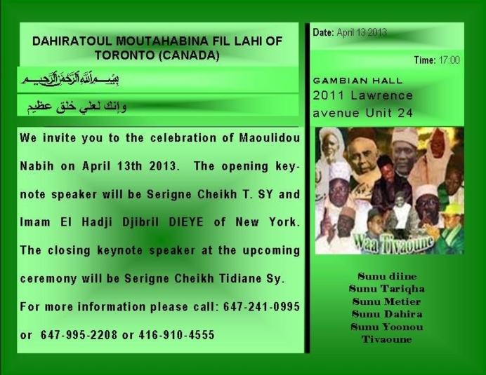 CANADA : Gamou du Dahira Moutahabina Filahi de Toronto , Samedi 13 Avril 2013