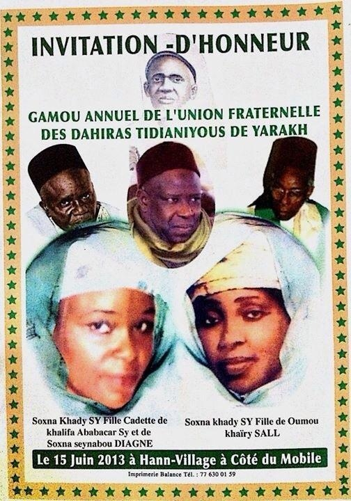 GAMOU UNION YARAKH , CE SAMEDI 15 JUIN 2013 : L'hommage aux deux Sokhna Khady SY de Serigne Babacar Sy (rta)