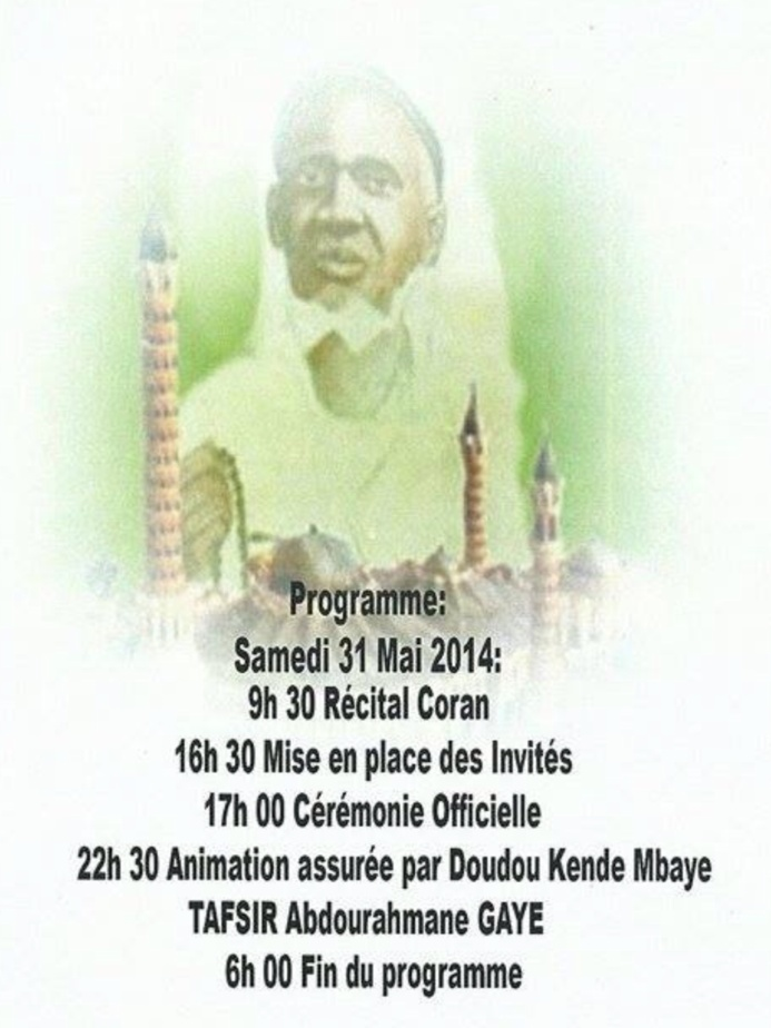 SEBIKOTANE: Gamou du Dahira Moutahabina Filahi , Samedi 31 Mai 2014 , sous la présence effective de Serigne Mame Malick Sy Mansour et Serigne Cheikh Tidiane Tall