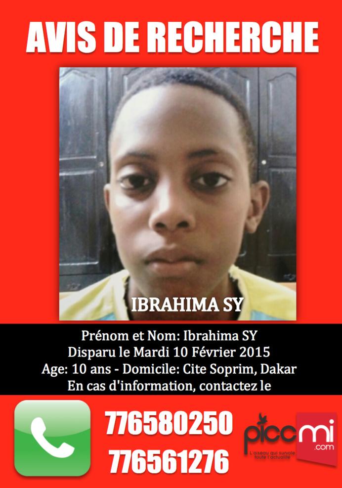 Avis de recherche du jeune Ibrahima Sy