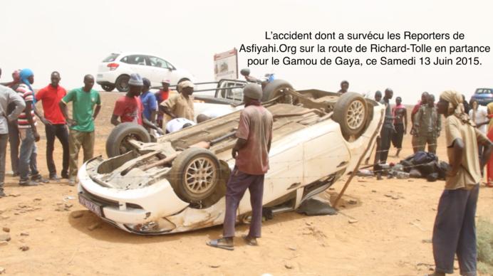 Des reporters de Asfiyahi.Org victimes d'un accident sur la route de Richard-Toll