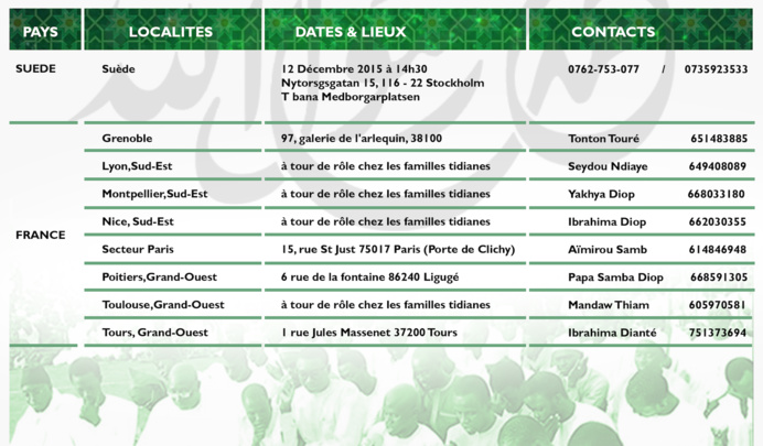 Voici le Calendrier des Burds Populaires du COSKAS, Mawlid 2015/2, AU Senegal et dans la Diaspora