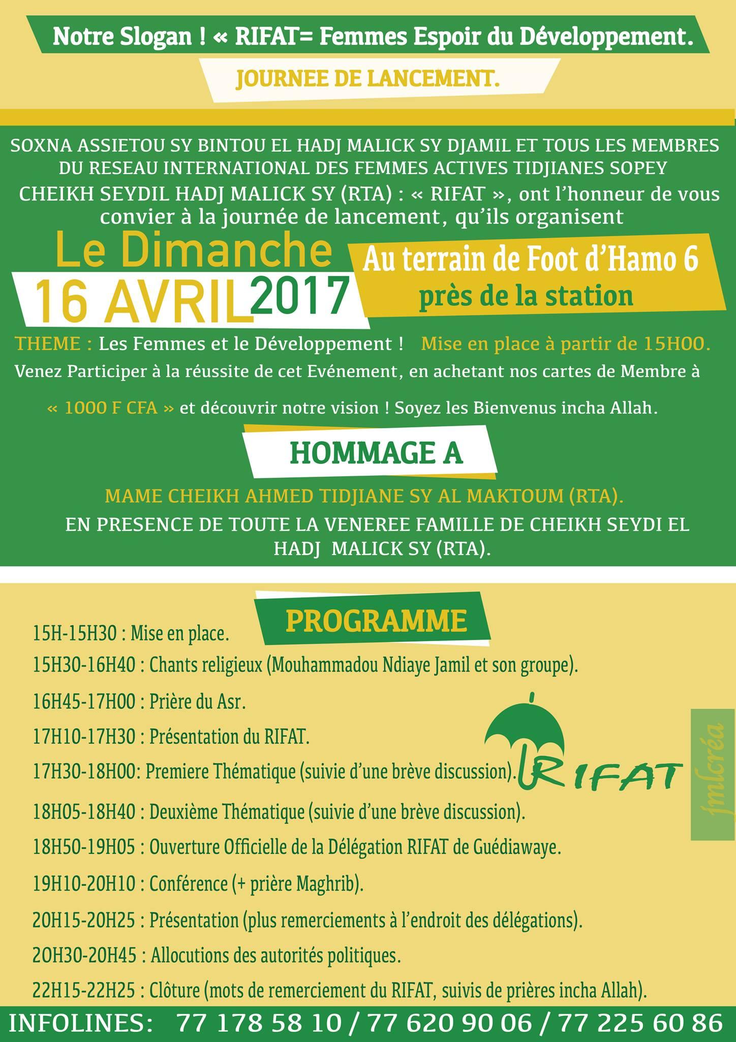 """Lancement des activités du Réseau International des Femmes Actives Tidjanes """"RIFAT"""", ce Dimanche 16 Avril 2017 à Hamo 6."""
