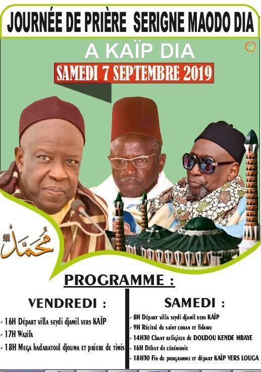 LOUGA - Journées de Prières Serigne Maodo Dia (rta) , les 6 et 7 Septembre 2019 à Kaïp Dia