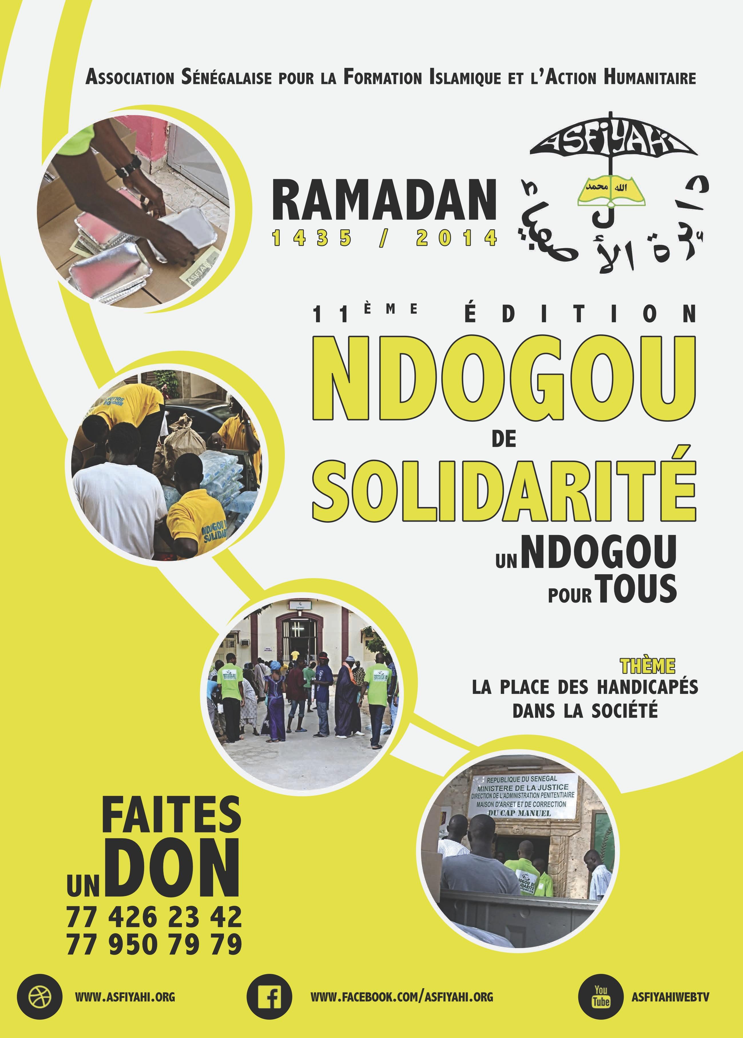 11EME EDITION DES NDOGOU DE SOLIDARITE DU DAHIRA ASFIYAHI - Thème de l'année : La place des Handicapés dans la Société