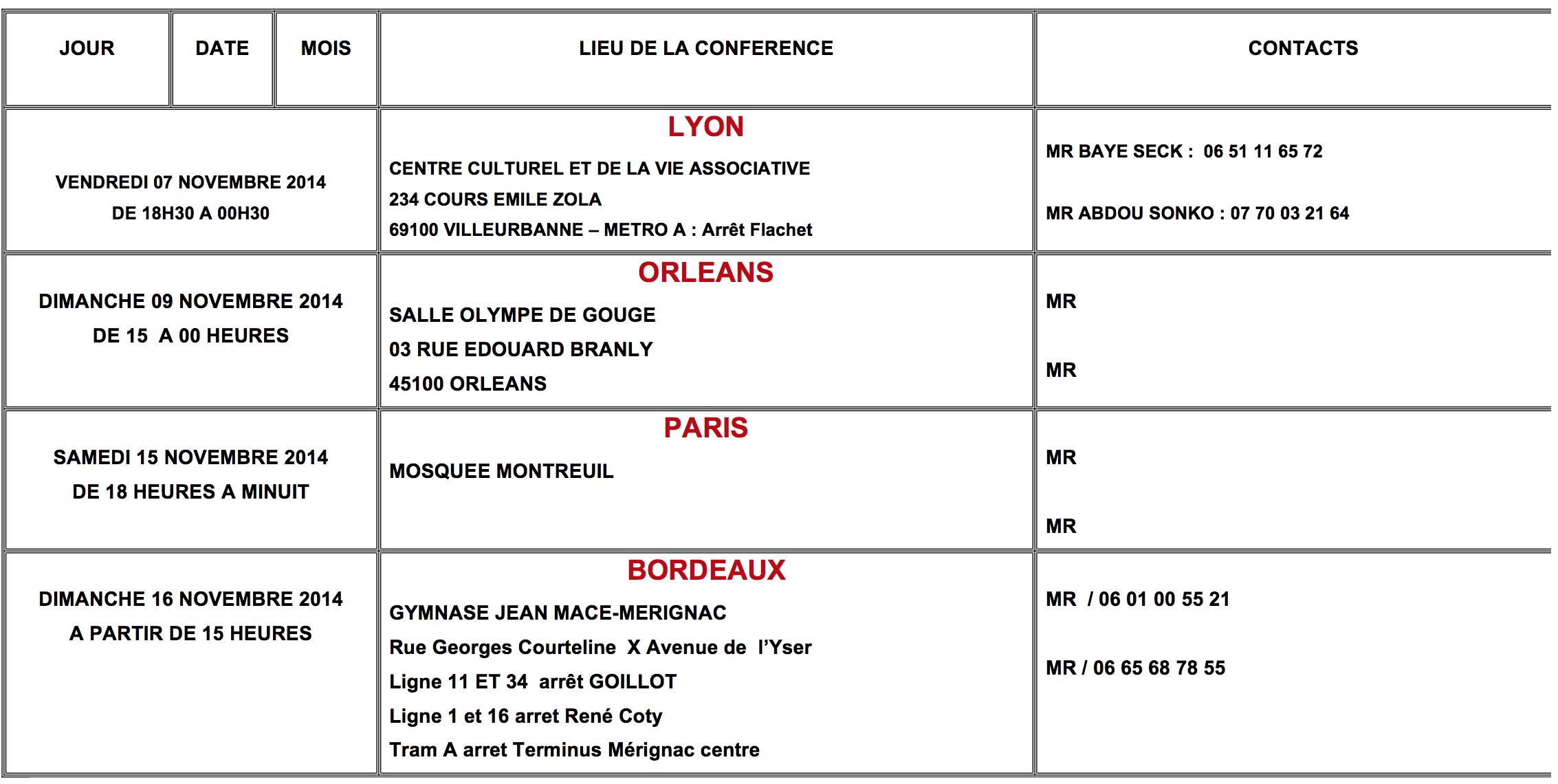 Voici le Programme de la Tournée Européenne de Cherif Maamine Aidara et Tafsir Abdourahmane Gaye du 23 Octobre au 16 Novembre 2014