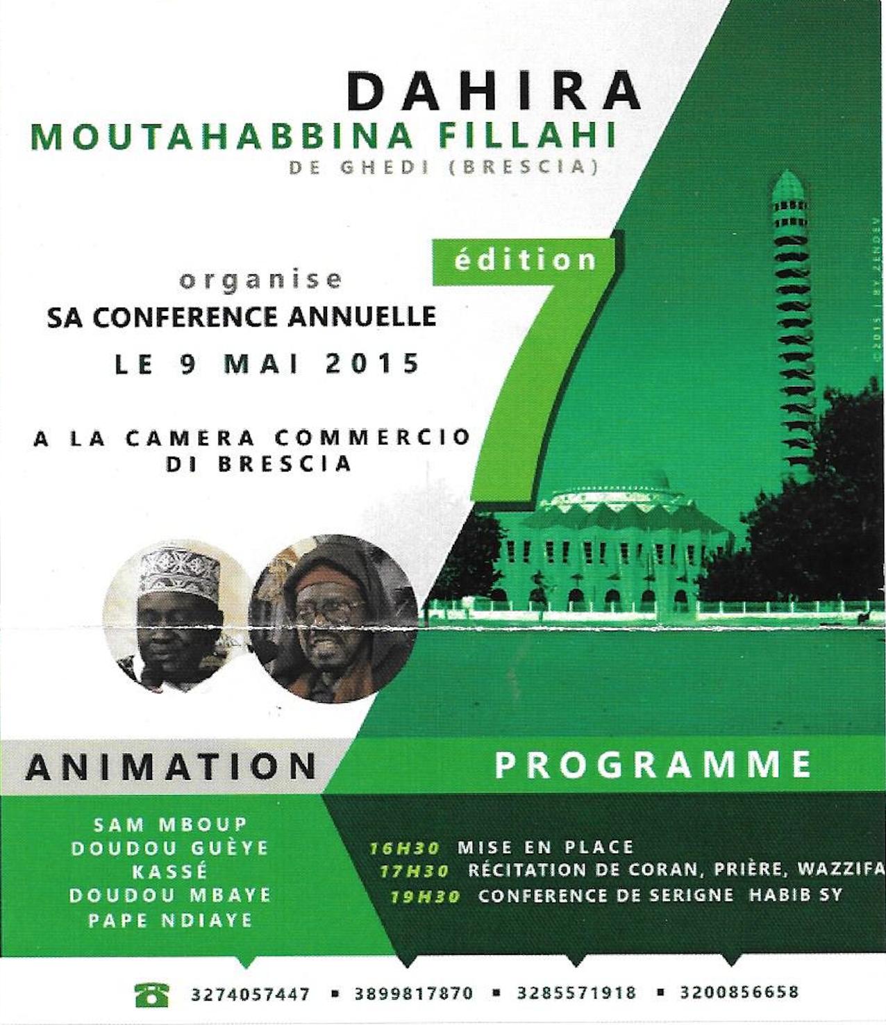 BRESCIA (ITALIE) - Conférence du Dahira Moutahabina Filahi de Serigne Habib Sy Mansour, ce Samedi 9 Mai 2015