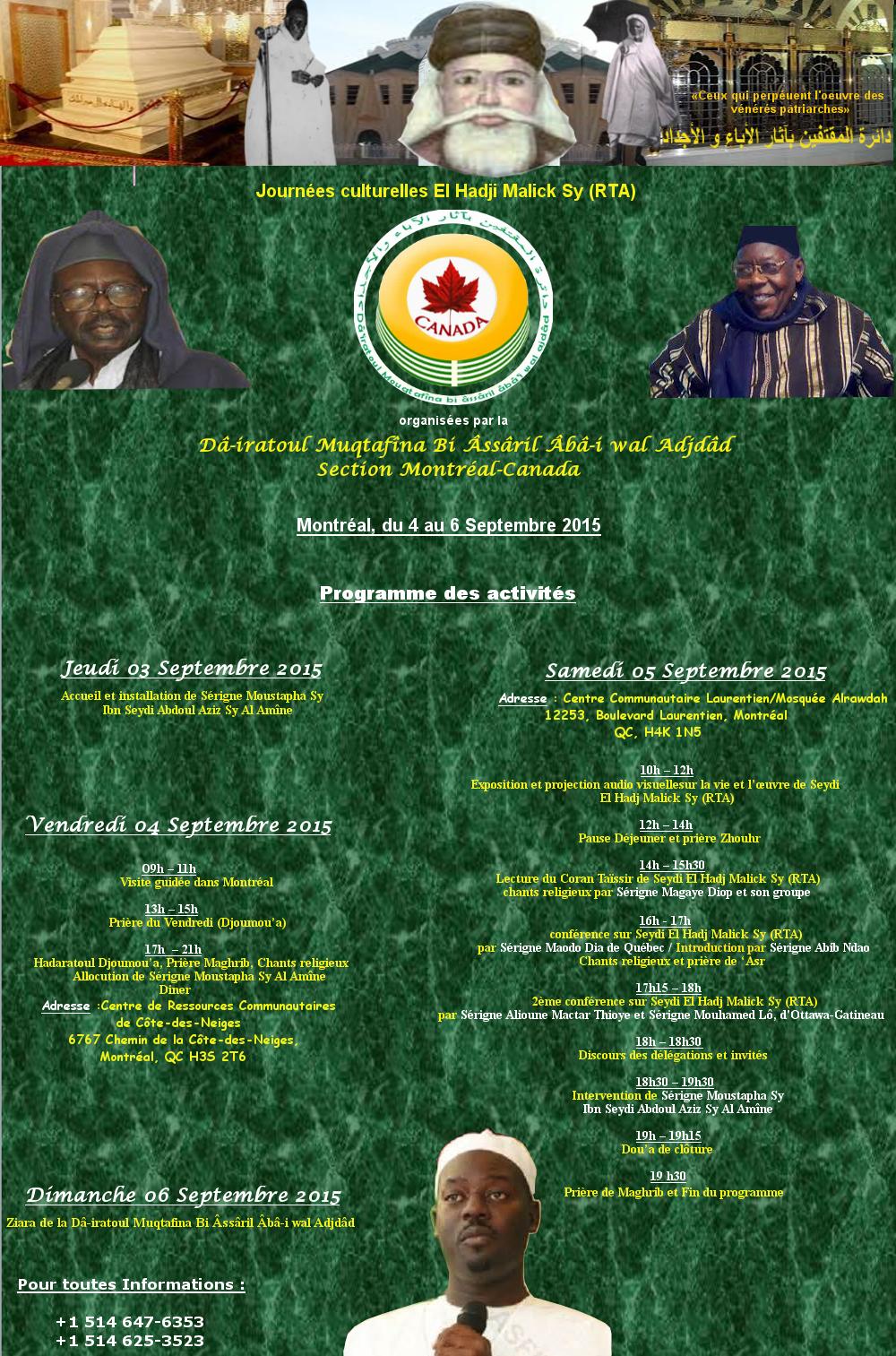 CANADA - Journée El Hadj Malick Sy (rta) de la Dahira Mouqtafina, du 4 au 6 Septembre 2015 à Montréal