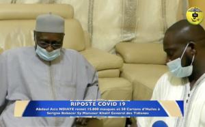 VIDEO - TIVAOUANE - RIPOSTE COVID 19 -  Abdou Aziz Ndiaye remet 15 mille masques et 50 cartons d'huile à Serigne Babacar Sy Mansour - L'integralité du Message du Khalif