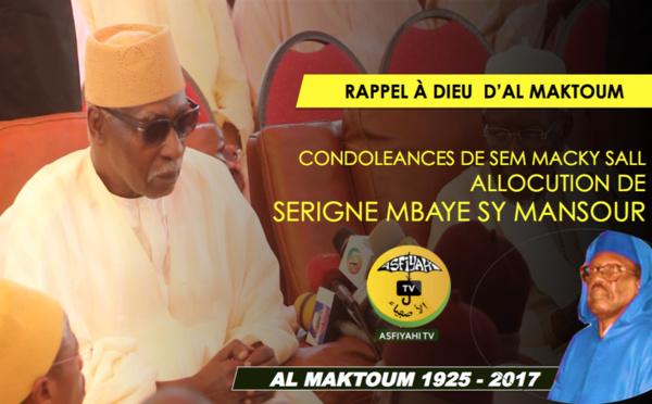 VIDEO - Rappel à Dieu de Serigne Cheikh Tidiane Sy - L'allocution de Serigne Mbaye Sy Mansour