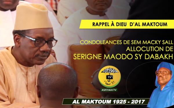 VIDEO - Rappel à Dieu de Serigne Cheikh Tidiane Sy - L'allocution de Serigne Maodo SY Dabakh