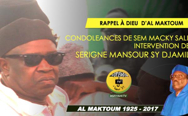 VIDEO - Rappel à Dieu de Serigne Cheikh Tidiane Sy - Condoléances du President Macky Sall: L'intervention de Serigne Mansour Sy Djamil