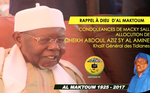 VIDEO - Rappel à Dieu de Serigne Cheikh Tidiane Sy - Condoléances du President Macky Sall: L'allocution de Serigne Abdoul Aziz Sy Al Amine, Khalif Général des Tidianes