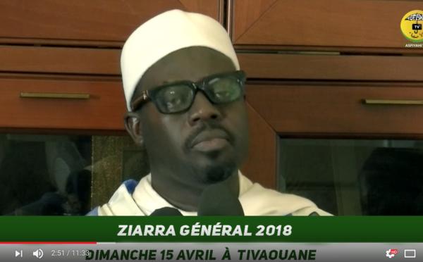 VIDEO - Ziarre Générale 2018 de ce 15 Avril: L'Appel de Serigne Moustapha Sy Abdou au nom du Khalif General des Tidianes et du porte-parole