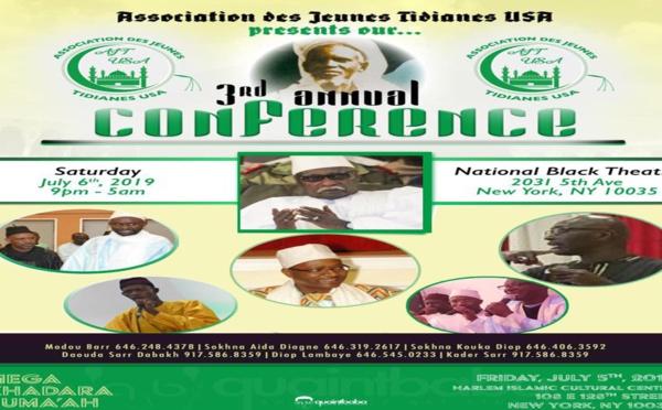 USA - Bande Annonce de la Conférence Annuelle de l'Association des Jeunes Tidianes USA ce Samedi 06 Juillet 2019 au National Black Theatre animée par Tafsir Abdourahmane Gaye et de Chérif Mamine Aidara