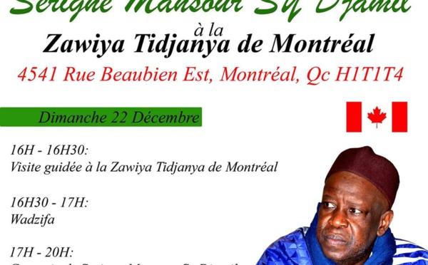 CANADA - MONTREAL : Conférence religieuse animée par Serigne Mansour Sy Djamil à la Zawiya Tidjaniya de Montréal ce Dimanche 22 décembre 2019