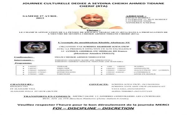 FRANCE : Le Champ d'application de la pensée de Khalifa Ababacar SY (rta) dans la propagande de l'oeuvre de Seydina Cheikh (rta) , thème de la journée Cheikh organisée à Paris ce 27 Avril 2013