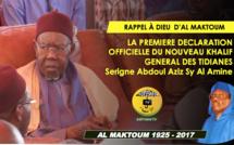 VIDEO - Suivez l'intégralité de la Première déclaration officielle du nouveau Khalif Général des Tidianes: Le Khalifat de Serigne Abdoul Aziz Sy Al Amine sous le signe de la réconciliation du Sénégal et de ses fils