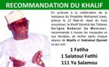 URGENT - Recommandation du Khalif Général des Tidianes en prélude au Gamou  2017