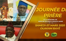 VIDEO ANNONCE : Suivez l'appel de la Journée de prière à la mémoire de Serigne El hadji Boubou Ndiaye Samb à Ouakam, samedi 07 Mars 2020