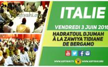 VIDEO - ITALIE  - Regardez la Hadratoul Djumah à la Zawiya Tidiane de Bergamo,  Vendredi 3 Juin 2016